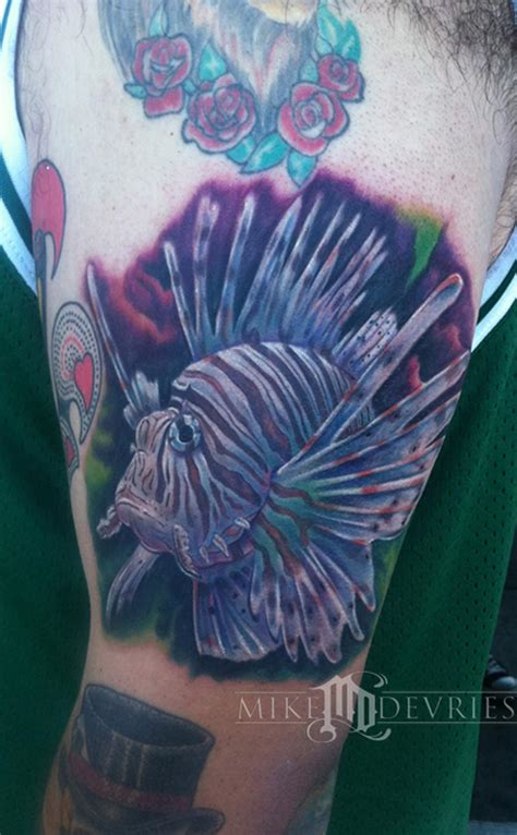 lionfish tattoo designs fish by mike devries tattoos