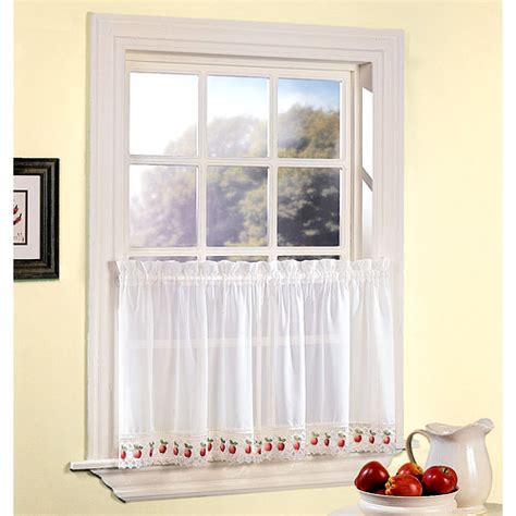 apple orchard sheer voile kitchen tier set of two white