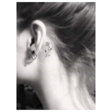rose tattoo behind ear 40 inspiring tiny ear tattoos that make you say i need this