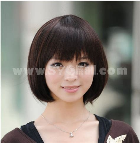 versafiber for round face wigs women s wig short full bangs fluffy bobhaircut round face