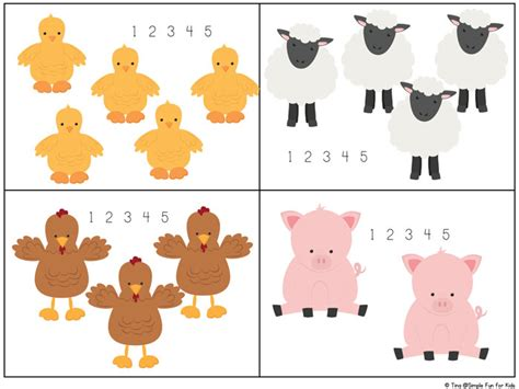 printable animal number cards farm animal counting 1 10 printable simple fun for kids