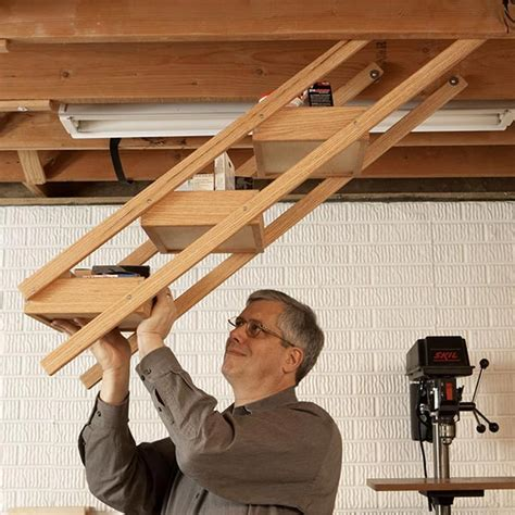 Overhead Swing Down Shop Storage Woodworking Plan From
