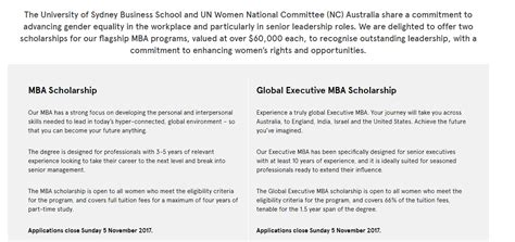 Mba Scholarships Usyd by Un Nc Australia Mba Scholarships At Of