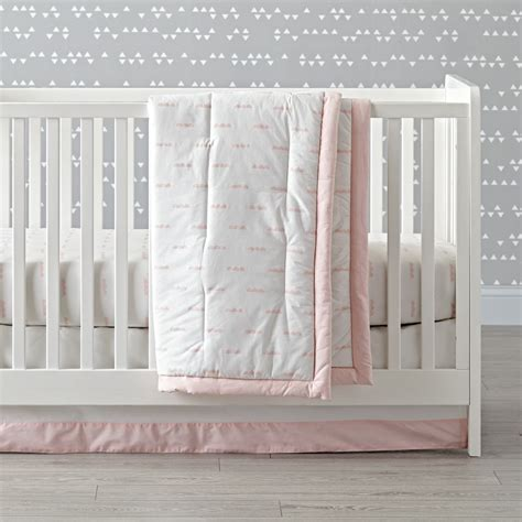 cloud bedding set iconic pink clouds crib bedding the land of nod