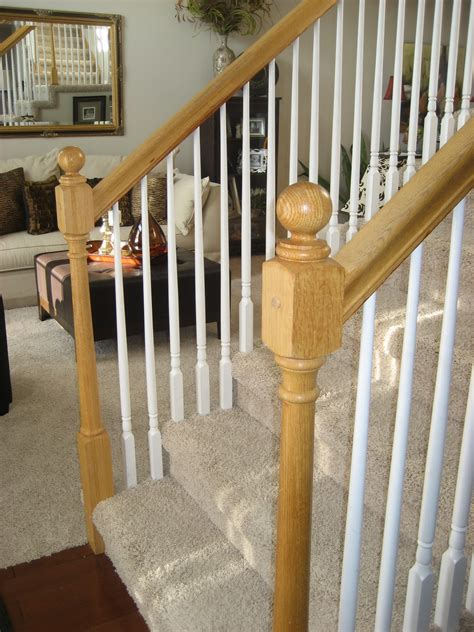wood stair railings and banisters image gallery oak spindles for stairs