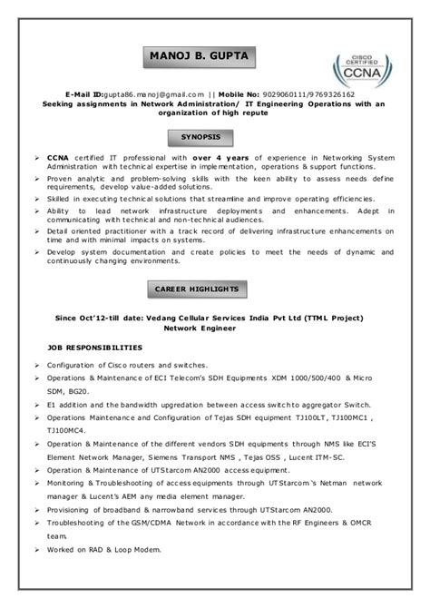sle resume for ccna certified manoj gupta resume be in computer engg with 4 years of