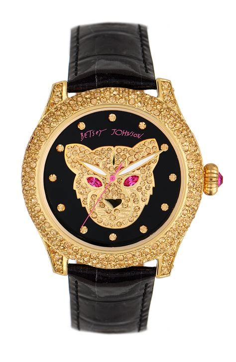 betsey johnson bling bling time panther in gold