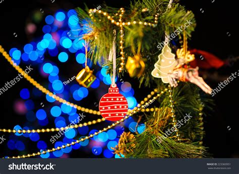 desktop twinkling tree decoration new year decoration abstract blurred stock photo 223360951