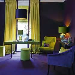 Purple and gold home office home office colours feature walls