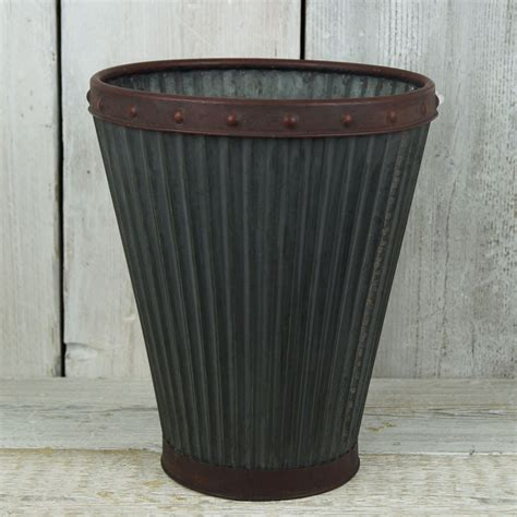 Zinc Planters by Ribbed Zinc Planter Satchville Gift Co Summer Gardening