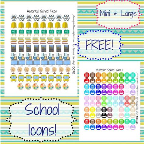 printable school planner stickers multicolor school icons school deco school icon free