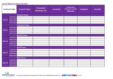 social media posting schedule template search results for social media posting calendar template