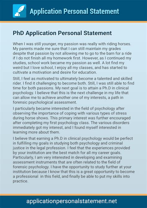 phd professional application personal statement application personal statement