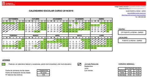 Calendario De La Escuela 2015 Calendario Escolar 2014 2015 Cp Puente La Reina Gares