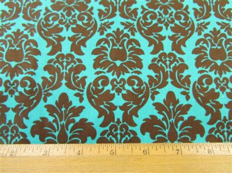 teal and brown upholstery fabric teal and brown damask fabric by vintagesugarfabrics on