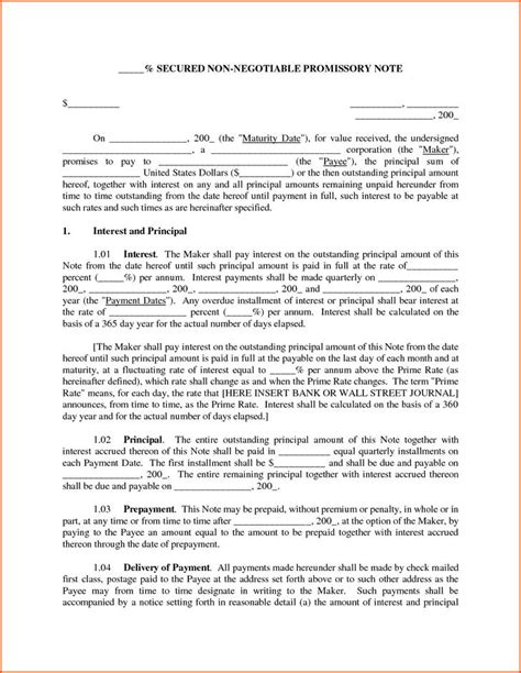free secured promissory note template word promissory note templates free premium