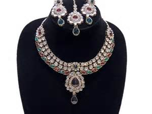 Handmade Costume Jewellery Uk - multicolor fashion necklace set fancy handmade kundan
