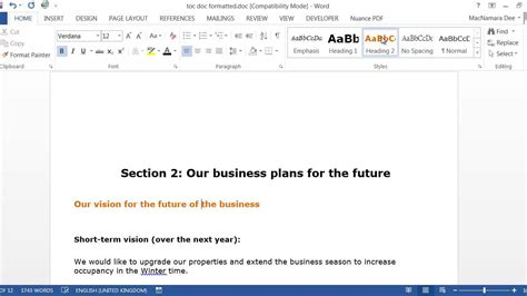 Create Table Of Contents In Word 2013 by How To Create A Table Of Contents And Headings In Word