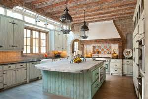Vintage Kitchen Islands wide kitchen in rustic design with vintage kitchen island under dark