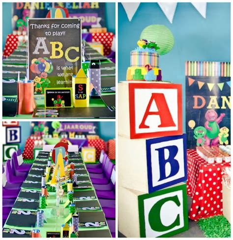 themed party letter c kara s party ideas barney friends abc birthday party
