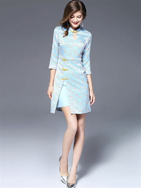 light blue mini dress light blue side split mini dress metisu