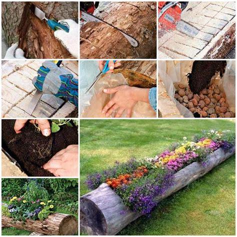 How To Make Beautiful Log Garden Planter How To Make A Beautiful Flower Garden