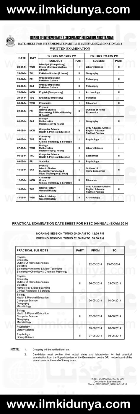 bise abbottabad board matric and inter date sheets 2017