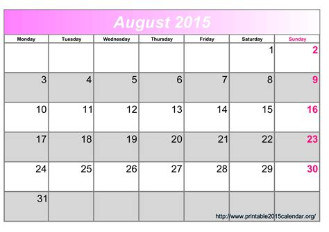 printable planning calendar august 2015 8 best images of august 2015 calendar printable january