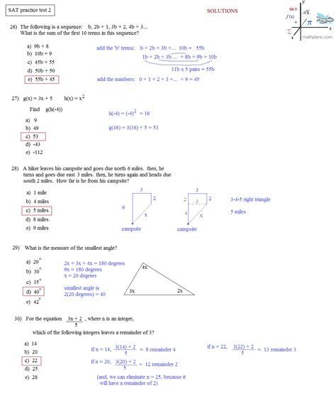 sat math worksheets math plane sat practice test 2