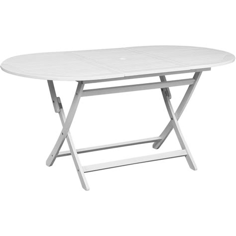 White Patio Dining Table by Vidaxl Outdoor Dining Table White Acacia Wood Oval Www