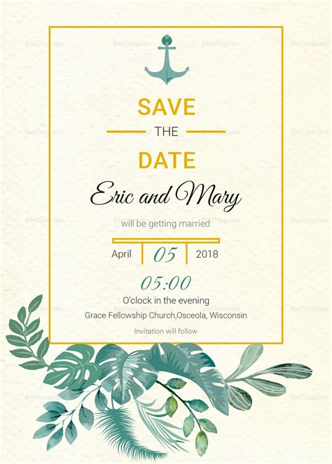Nautical Save The Date Card Template In Psd Word Publisher Illustrator Indesign Nautical Save The Date Template