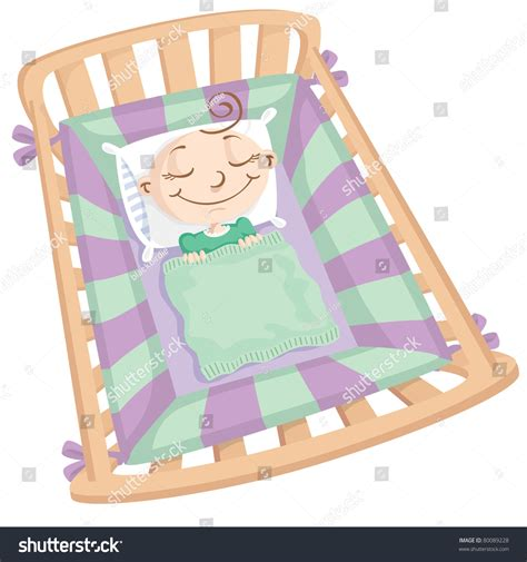 babies sleeping in cribs baby sleeping in crib stock vector illustration 80089228