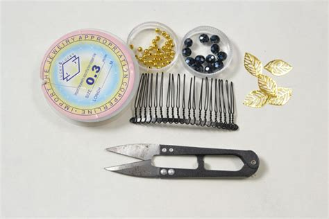 supplies needed to make jewelry how to make a gold leaf decorated hair comb for autumn