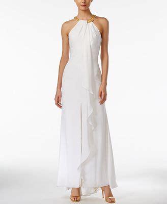 calvin klein beaded halter gown calvin klein beaded ruffled halter gown dresses