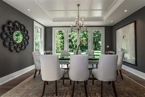 Gray Dining Room With Tray Ceiling Velvet Dining Chair Eclectic Dining Room Studio