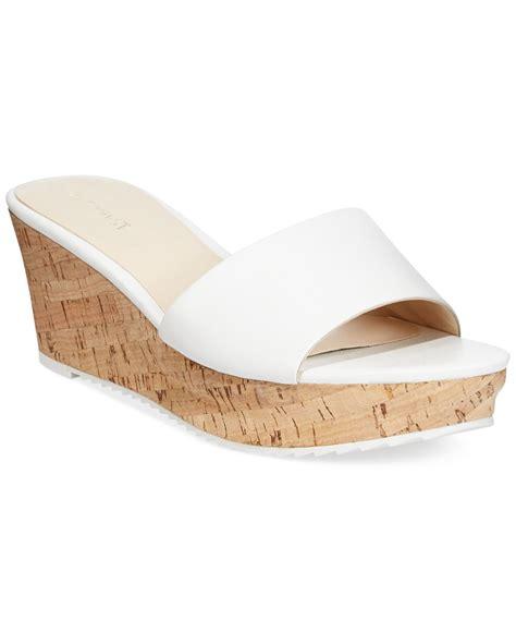 white slide sandals nine west confetty platform slide sandals in white lyst
