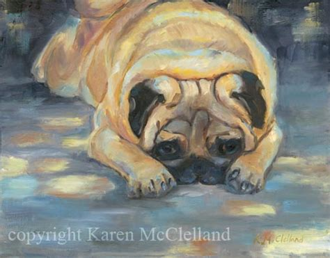 pug spots pug limited edition giclee print painting done by artist mcclelland