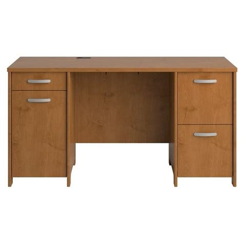 cherry desk bush envoy pedestal wood desk in cherry pr76360k