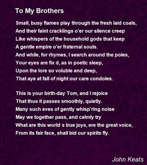to my poem to my brothers poem by keats poem