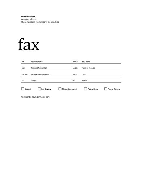 fax form template free fax cover sheet template printable pdf word exle