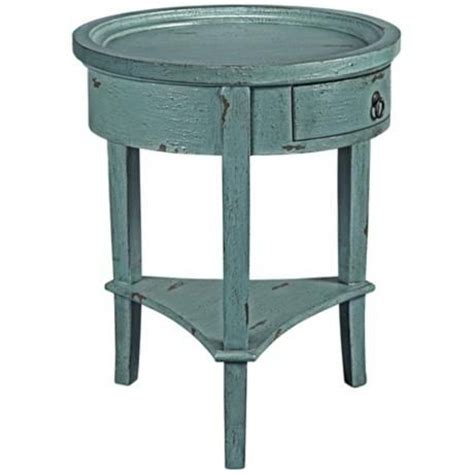 Teal Accent Table Neve Distressed Teal Accent Table