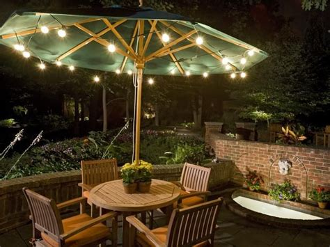 Patio Dining Lights String Inexpensive Bistro Lights Around The Umbrella To
