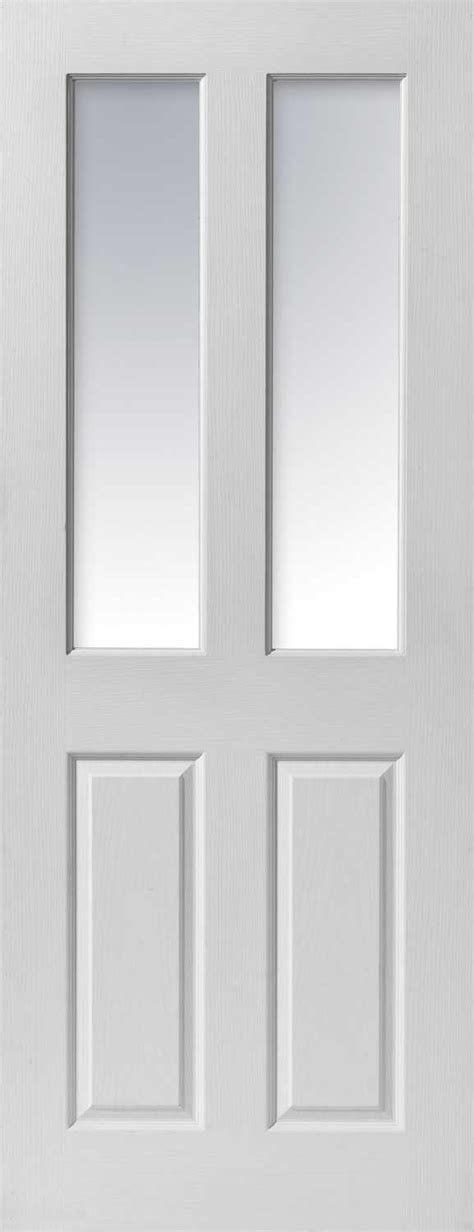 Interior Glass Doors White Canterbury Glazed Textured White Primed Doors