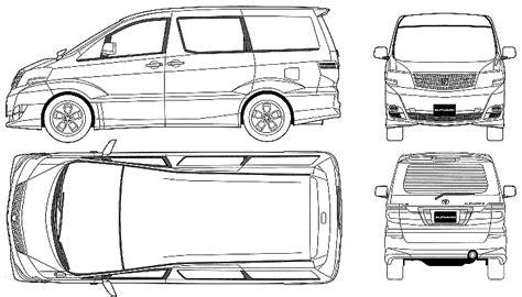 toyota alphard minivan blueprints  outlines
