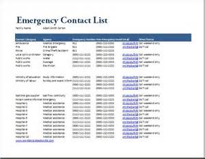 Emergency Call List Template Ms Excel Emergency Contact List Template Formal Word