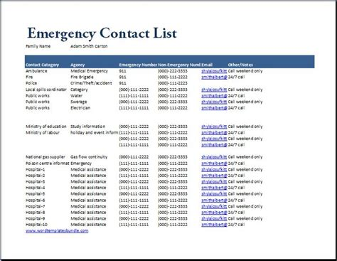ms excel emergency contact list template formal word
