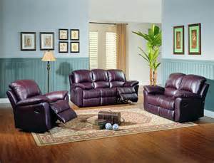 Living Room With Burgundy Sofa by Living Jupiter Black Cherry Leather Reclining Sofa