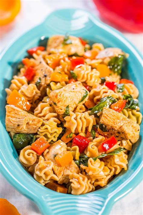 chicken pasta salad smoky chicken peppers and spinach pasta salad picnic