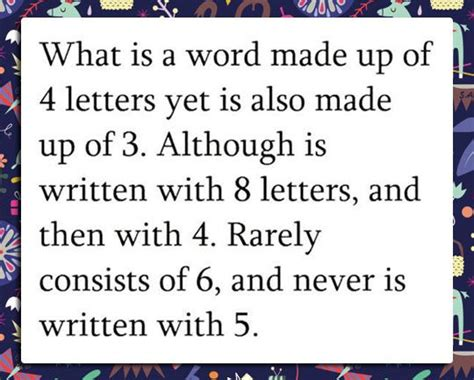 4 Letter Words Riddle what is a word made up of 4 letter yet is also made up of