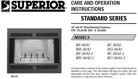 Superior Fireplace Manuals by Lennox Superior Fireplace Manual Fireplaces